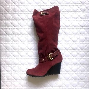 Michael Kors Burgundy Suede Wedge Boots 8 M NEW